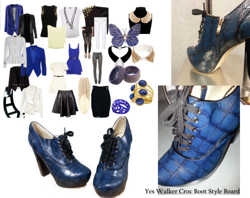 "blacktealbricksteel:  Our collaboration with YesStyle's new sister site YesWalker.com. I reviewed 2 styles of shoes that they sell. The first one up is the ""Croc Embossed Boot."" I also created style boards to show some great wardrobe choices to go with this shoe. Enjoy!!"