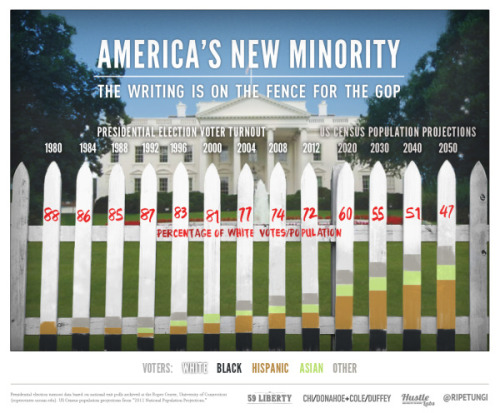 The writing is on the fence for the White House for the GOP: whites will be the minority of American voters in the future.  And even before then, Presidential candidates need to represent the entire American populations, not just certain groups of voters… via daily-infographic:  America's New Minority