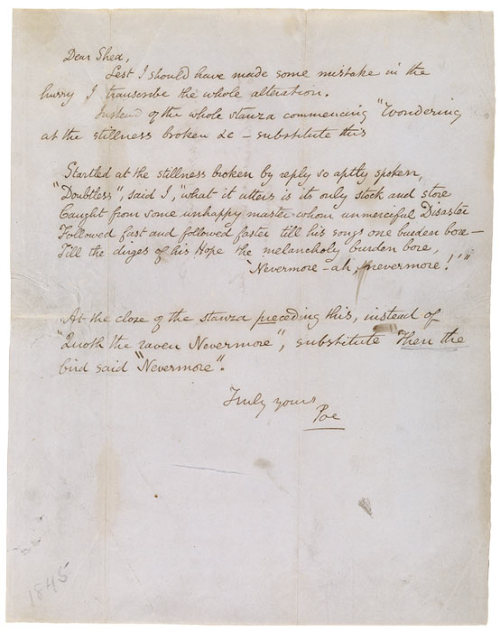 Edgar Allan Poe (1809–1849) Letter signed Poe: New York, to John Augustus Shea, 3 February 1845.  The Morgan Library