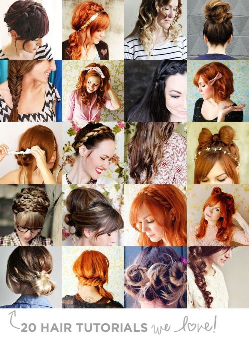scissorsandthread:  Hair Tutorials | A Beautiful Mess i get asked a lot about hair tutorials, so here is a round up of 20 from the lovely ABM! There are a few you might have seen on the site before and a few you haven't. I'm going to share this with my sister, she loves trying new styles!