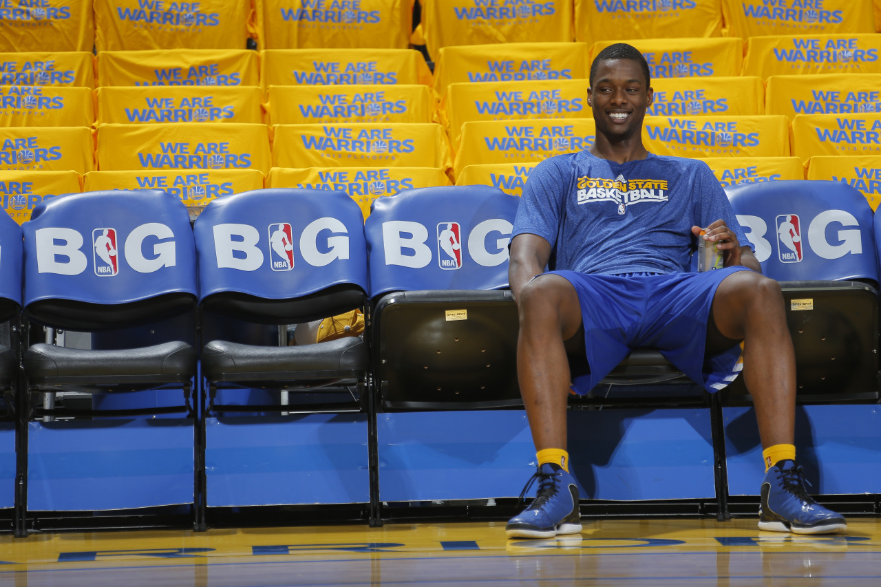 nba:  Harrison Barnes of the Golden State Warriors warms up before playing the Denver Nuggets in Game Six of the Western Conference Quarterfinals during the 2013 NBA Playoffs on May 2, 2013 at Oracle Arena in Oakland, California.  (Photo by Rocky Widner/NBAE via Getty Images)