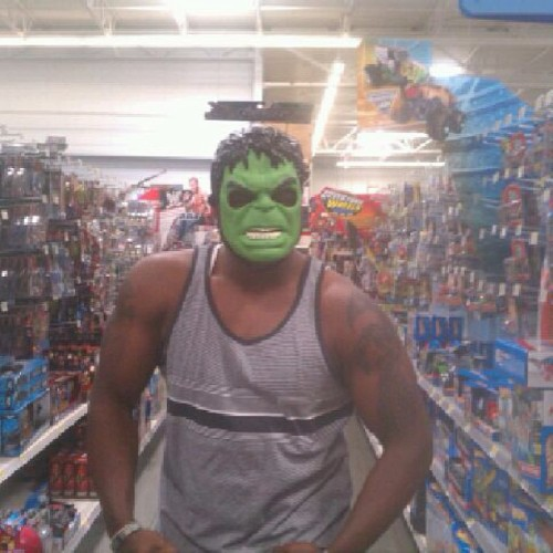 Getting my hulk on in Wal-Mart #hulk #mask #brolic