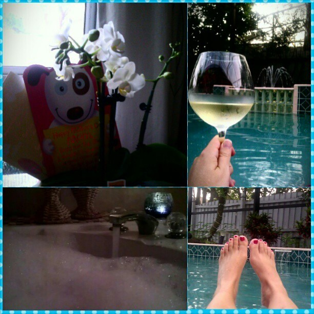 #happymothersday #pooltime  #bubblebath #wine #relax #buoyancyiskey #offmyfeet #metime #imgonnadoboth