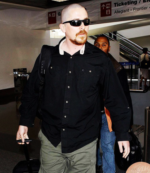Christian  Bale at JFK airport [May 19, 2013]   MY HUSBAND WENT BALD OMG