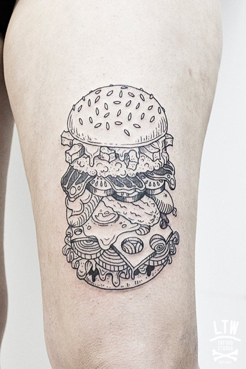 ltwtattoo:  Hamburger by Ciscu, LTW Tattoo Studio.