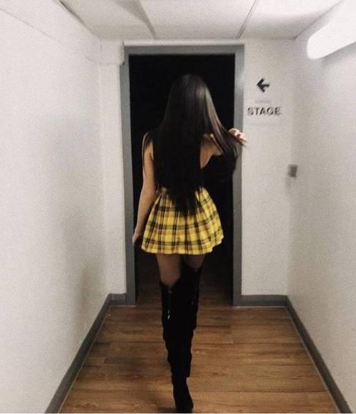 overknees black boots boots mini skirt heels tights yellow skirt black hair