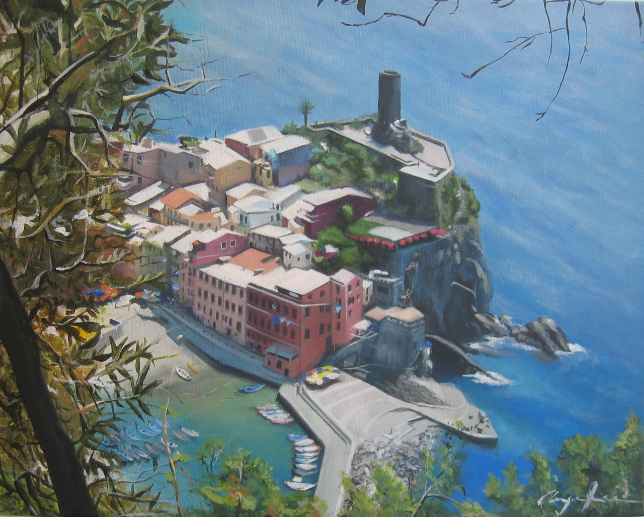 Cinque Terre, Italy  /  Acrylic on Canvas  /  18 x 20 in  /  Commission