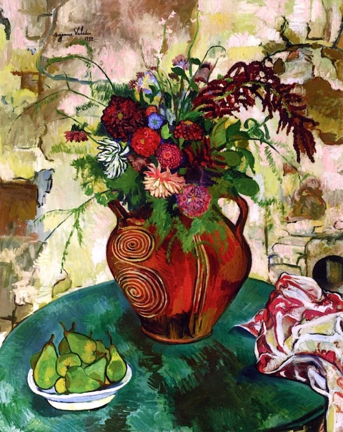"""Still LIfe with Flowers and Fruit"" by Suzanne Valadon, 1932. via bofransson  Suzanne Valadon (23 September 1865 – 7 April 1938) was a French painter born Marie-Clémentine Valadon at Bessines-sur-Gartempe, Haute-Vienne, France. In 1894, Valadon became the first woman painter admitted to the Société Nationale des Beaux-Arts. She was also the mother of painter Maurice Utrillo."