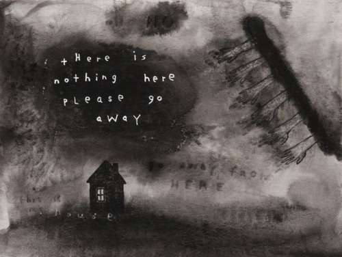 limb-of-satan:  David Lynch There Is Nothing Here Please Go Away 2012 watercolour on paper 24,1 x 31,8 cm 9 1/2 x 12 1/2 inches
