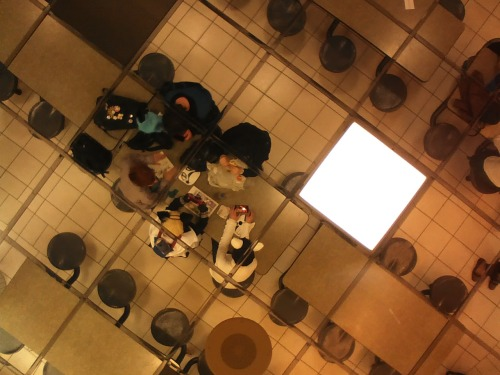 miaouler:  A group of dorks hanging out in the cafeteria at Otafest. {I'm the Zacharie in the dumb cat ears taking the photo}  Hey Mana, I found a picture of you xD
