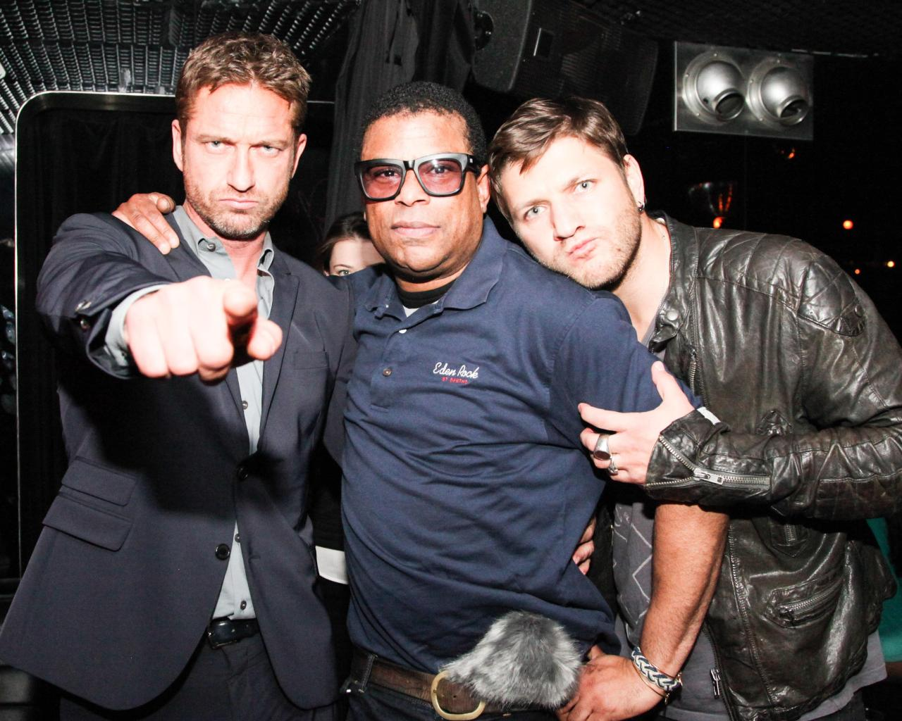 Gerard Butler and friends at the Chez André pop up at mmhmmm in The Standard, Hollywood