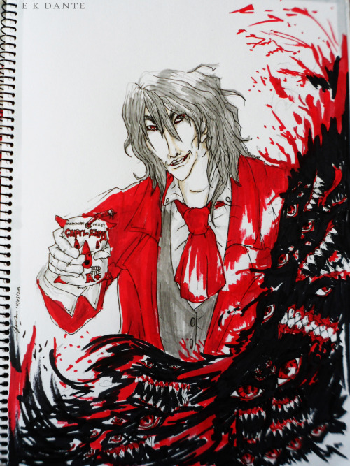 "Good ol' Alucard :) Finished my Hellsing fan art this morning ^^ // ""Capri-Sang"". A4. F and 5H sketching pencils, letraset markers, black marker, black fine liner 0.1mm // P/S: If you don't get the title, it's a parody of Capri-Sun. ""Sang"" is a french word for blood."