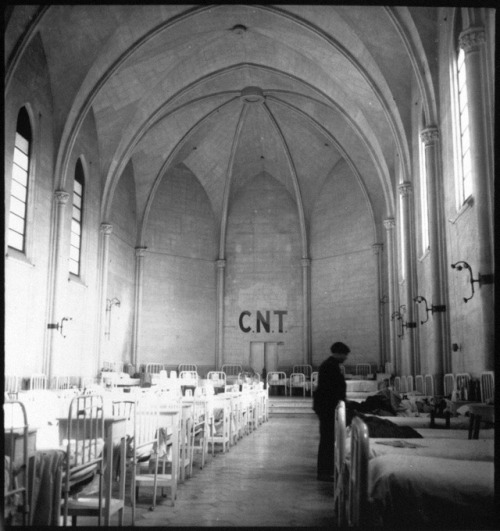 furtho:Kati Horna's photograph of a church converted into a hospital by the anarchist Confederación Nacional del Trabajo, Spanish Civil War (via here)
