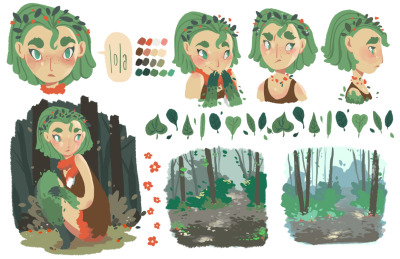 itsleahelaine:  Little character studies! In the very preliminary stages. What I know about her right now is that her name is Lola and she's part plant.  look who i found!~