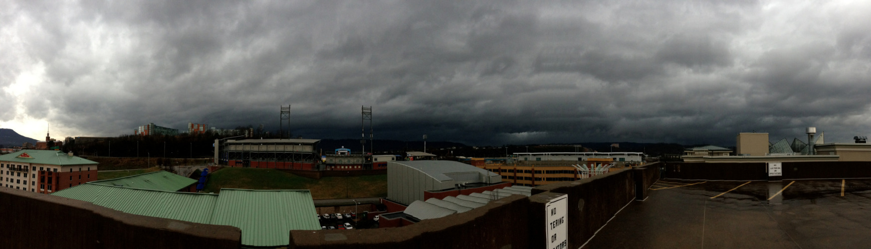ominously calm before the storm  (PS: This is my first panorama picture using my new iPhone.)