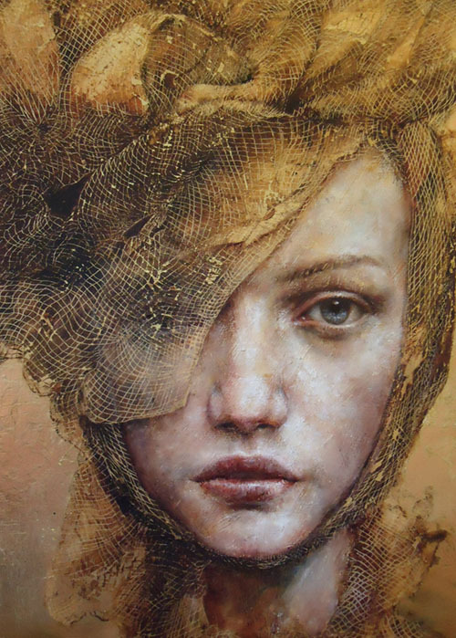 "darksilenceinsuburbia:  Pam Hawkes. The Players I. Oil, beeswax and dutch metal on board, 24 x 18"".   Website"
