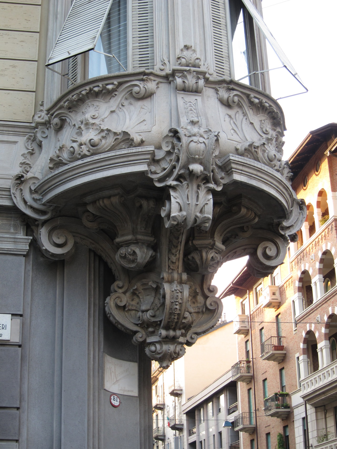 Art Nouveau base of a bay window in Turin, Italy.