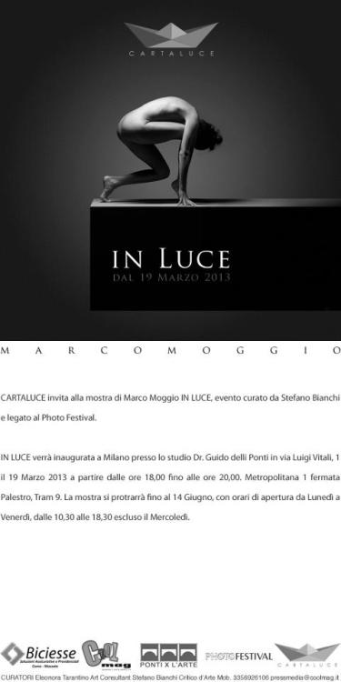 "Hedy Model for ""In Luce"" Marco Moggio's exhibit in Milan from March 19th to June 14th"