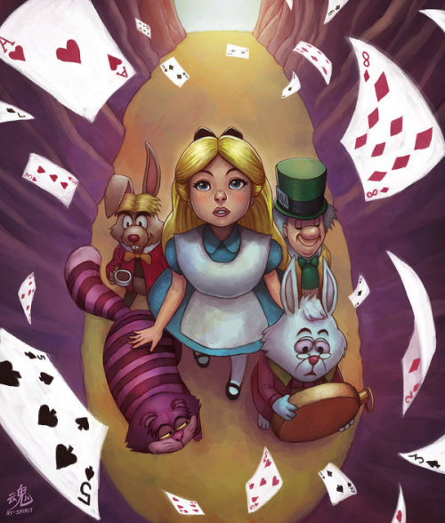 ry-spirit:  Alice in Wonderland - by Ry-Spirit For a deeper relationship with me, you can follow me at:Deviantart: http://ry-spirit.deviantart.comFacebook: http://www.facebook.com/ryspiritartYoutube: http://www.youtube.com/ryspirit