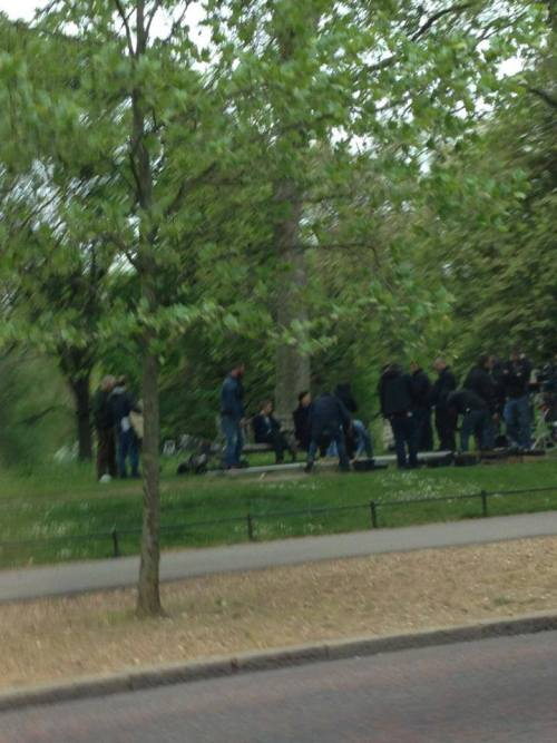 dudeufugly:  londonphile:  Blurry #setlock  okay so now that we have a pic: word is, that the scene they were shooting was HEARTBREAKING to watch. Just them sitting on the bench, talking. Sherlock looking VERY sad and upset (emotionally). WHAT?