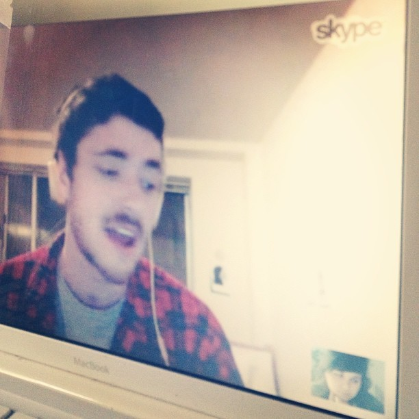 Hungover Skypin with my #1 boo. C u in 2 weeks hunni nuts!