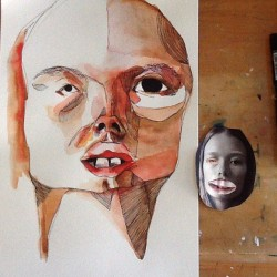 Cutting up faces, pasting them together and then drawing them. Last nights entertainment. #art #artist #artwork #paint #painting #pen #drawing #sketch #artists on tumblr #watercolour #illustration #portrait #progress
