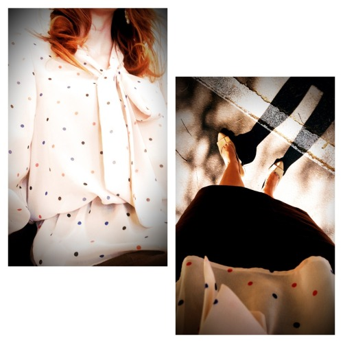 Polka Dots and Bows The Daily Look Outfit Breakdown:  Top: Forever21.com; Skirt: Victoria's Secret; Shoes: Forever21.com
