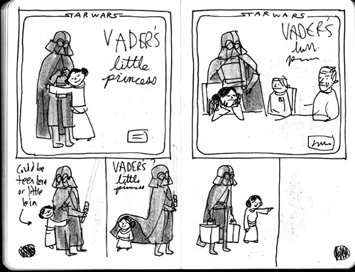 "laughingsquid:  The Process of Designing the Cover of ""Vader's Little Princess""  Eeeeep - I'll have to get this one too!"