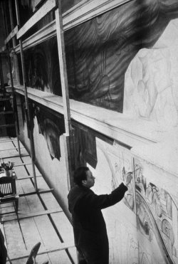 Diego Rivera at work in 1932