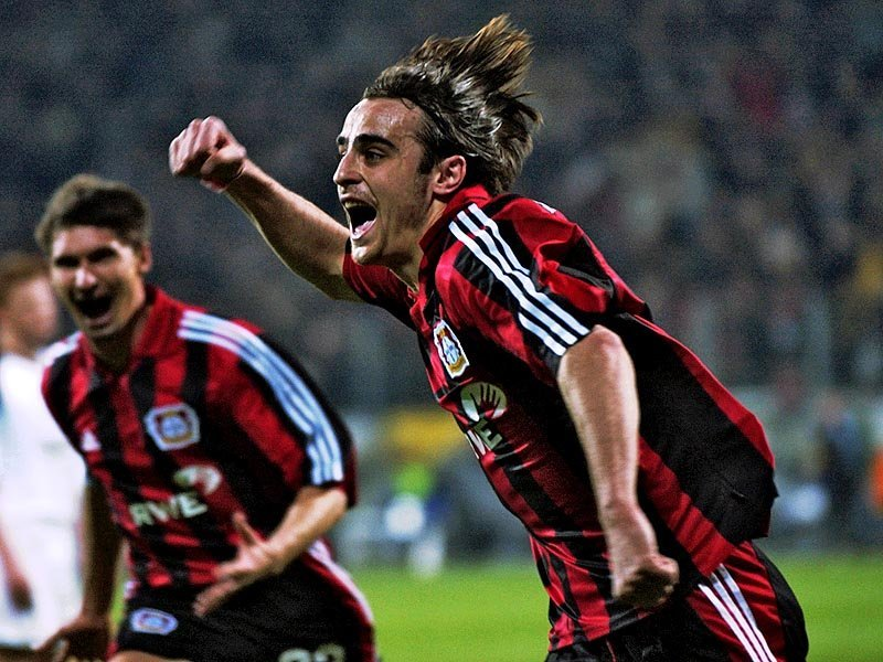 A 21-year old Dimitar Berbatov celebrating a goal for Bayer Leverkusen.