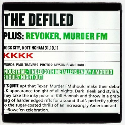 Murder FM Nottingham,UK concert review in legendary UK magazine KERRANG!