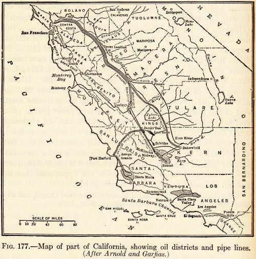 California, Petroluem Deposits and Pipelines, circa 1910 'Petroleum is found in California in a belt about 225 miles long, extending from the Coalinga district in Fresno County, at the north, to the Puenta Hills district in Orange County at the south. The fields in this belt, which are among the most prolific in the United States, produce mainly oils of medium to heavy grade, with asphaltic base. 'Oil seeps are numerous and asphalt beds cover wide areas. In no other region in North America is oil found in commercial quantities where the structure is so complicated, nor are surface indications so abundant in any other American fields.' from: Geology of Petroleum; William Emmons; 1921; McGraw-Hill Book Co.