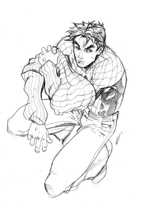 holiday sketch 1 - spidey by ~deemonproductions