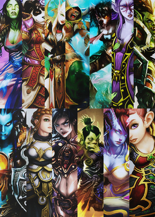 andtherainfallsdown:  Ladies of World of Warcraft Art Appreciation Post Exaura the Cryptkeeper - Artist: Zoltan and Gabor  Pandaren - Artist: Raneman Blood Elf Paladin - Artist: Glowei  Morova of the Sands  - Artist: Todd Lockwood Sana the Black Blade  - Artist: daarken Invigorating Touch  - Artist: Rhoald Orc Warrior  - Artist: Glowei  Spiritwalker Kavi'je - Artist: Clint Langley Dwarf Priest  - Artist: Raneman Blademistress Lyss  - Artist: Jonboy Meyers Amaxi the Cruel  - Artist: Ben Olson Rescue the Survivors!  - Artist: UDON Gnome Warlock  - Artist: Raneman