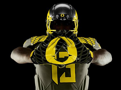 "Oregon Football: Spring Game Nike Uniforms Released To Public by Bryan Kalbrosky Always a cool day to be an Oregon fan: when we get to see the first Nike uniforms of the season. In this album by Oregon Football on Facebook, Nike released the uniforms that Oregon will wear for the upcoming spring game tomorrow morning. The uniforms (one set in black and one set in white) also feature ""Support Our Troops"" lettering highlighted on the backs of the jerseys.   Perhaps another highlight is the slick and clean helmet and American flag golden stitching on the jerseys. Oregon fans look forward to kickoff at the intersquad game at 11:00 AM on April 27. Click here to follow @OreognPitCrew on Twitter."