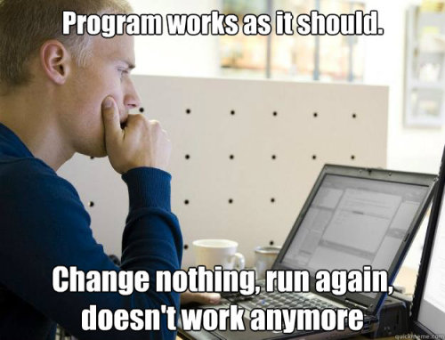 (via Programmer - program works as it should change nothing run again doesn)