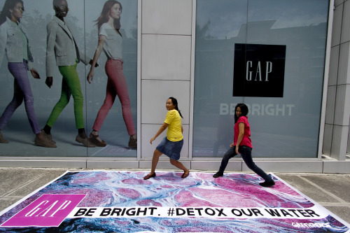 Activists staged a protest in front of a Gap store in Taguig City in support to the global movement putting pressure on Gap's latest fashion collaboration with toxics suppliers in Indonesia. Find out more about this toxic fairytale at ➡ http://bit.ly/XQZoPcTAKE ACTION by SHARING this photo to put pressure on GAP to detox fashion. © Greenpeace / AC Dimatatac