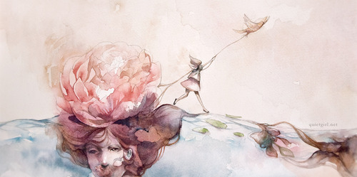 georgee-porge:  Peony Race by green-tea Cute little illustration to do with despair and hope