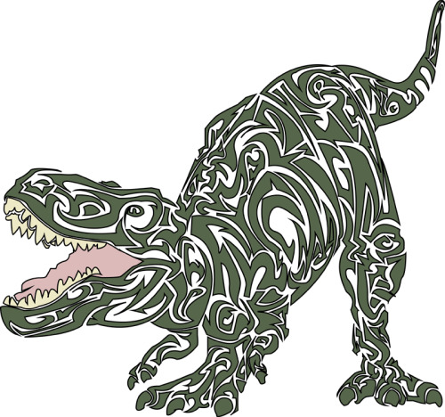 © 2013 Megan Yiu. Tyrannosaurus Rex done in my Harley Davidson tribal like style.