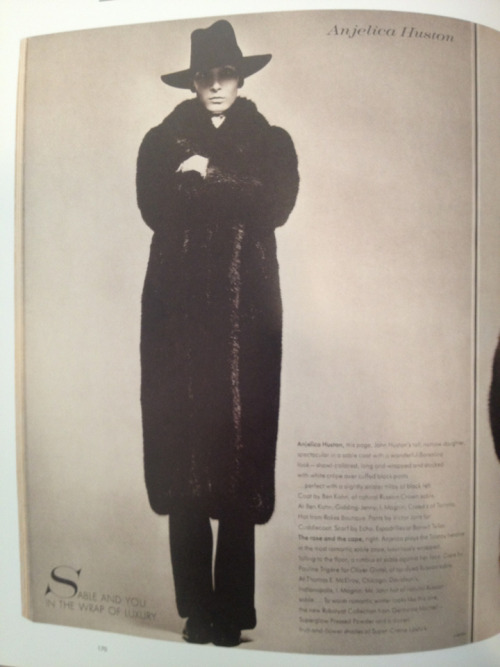 Angelica Huston by Avedon in The Eye Has to Travel. This book is excellent & wonderfully inspirational. And this look right here is what will see me through this winter season. Reading the memoir now too. Yum.