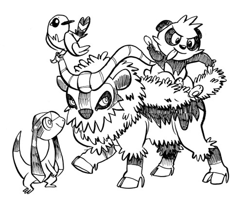 new pokemon friends. I'm going to name them Tesleon, Twitter, Goatbush and Pandammit.