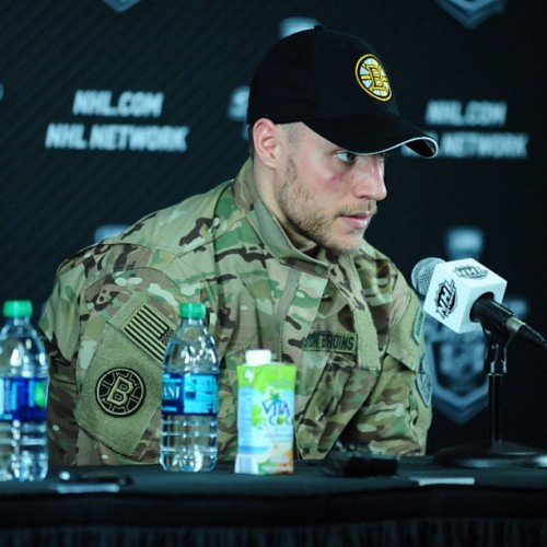 nhlbruins:      Gregory Campbell sporting the 'Army Rangers player of the game jacket' postgame #nhlbruins