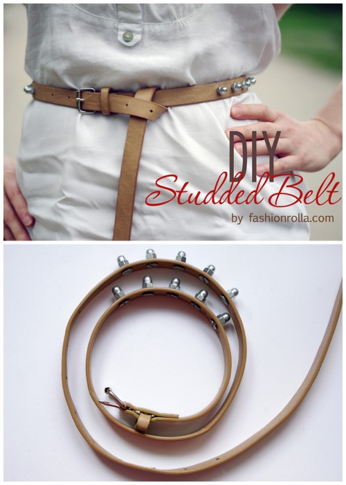 "DIY Studded Belt Tutorial from Fashionrolla here. I'm always happy to see tutorials done by Fashionrolla because they look expensive and don't look ""homemade"". Some things you want to look homemade and others you do not. For more DIY belts go here: truebluemeandyou.tumblr.com/tagged/belt"
