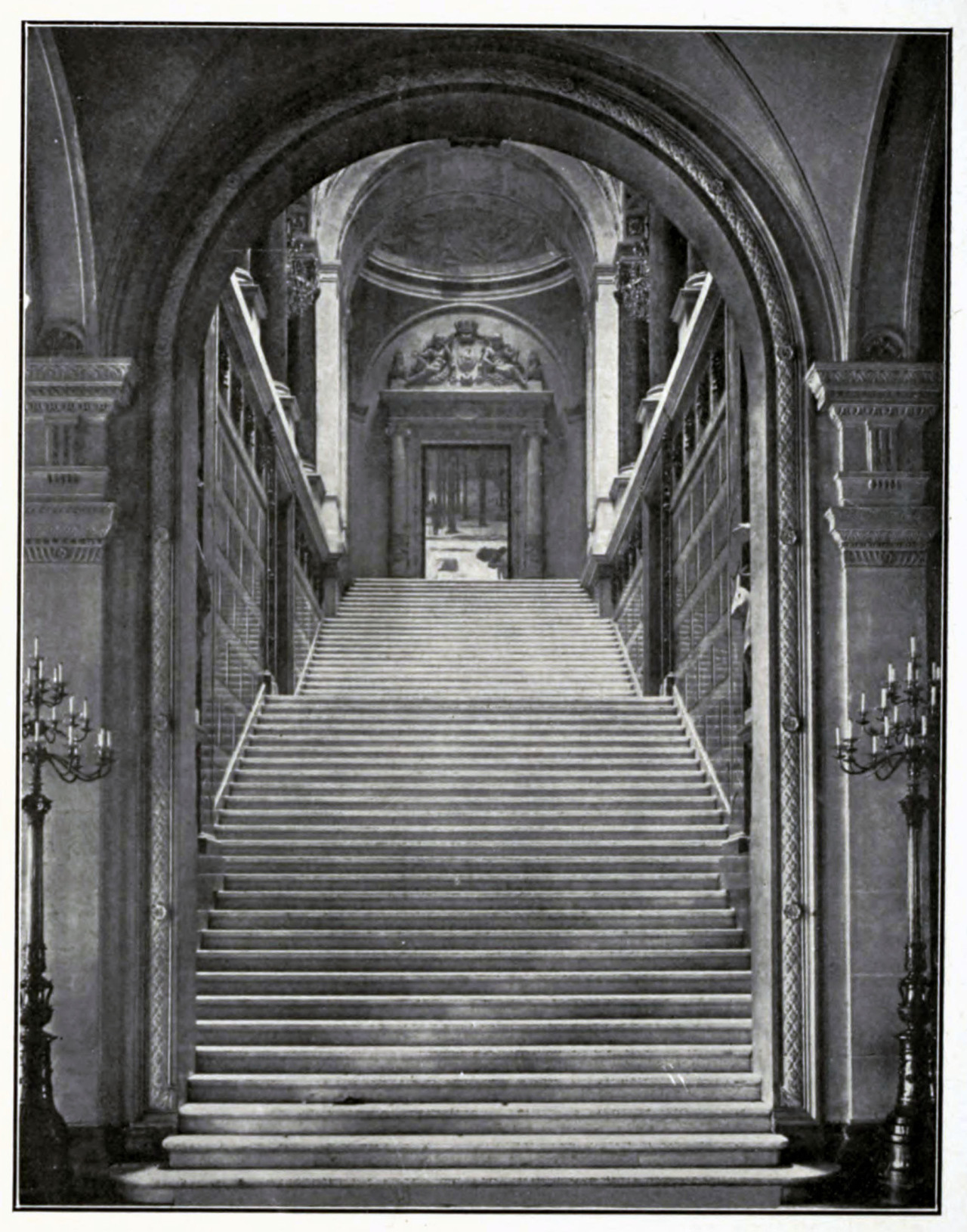 The grand staircase inside the Hôtel de Ville, Paris