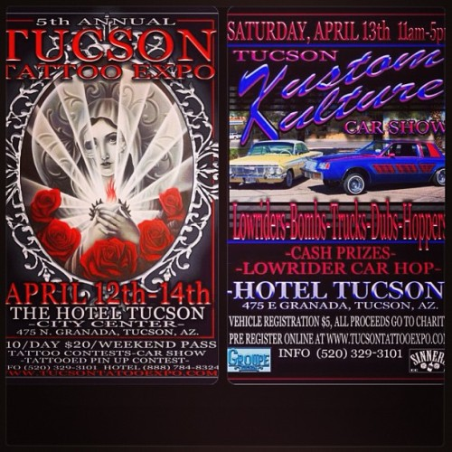 TUCSON TATTOO EXPO THIS WEEKEND, AND CAR SHOW ON SATURDAY. THE BEST OF THE BEST ARTIST S WILL BE IN ATTENDANCE. If your in Az this weekend come check it out.