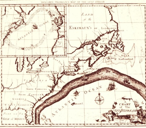 The earliest known map of the Gulf Stream, created by Benjamin Franklin in 1768. Complement with a visual history of maps as power, propaganda, and art.