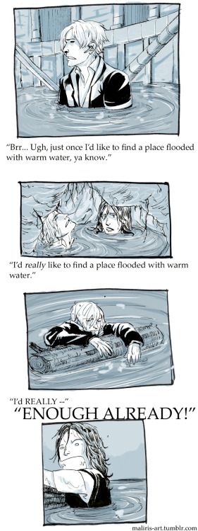 maliris-art:  Leon and Helena end up in water fairly often during their campaign. Leon disapproves. I cleaned the sketch finally so I could upload it to tumblr. D| This has been lying around on my harddrive for maaany many days now. Whoops.