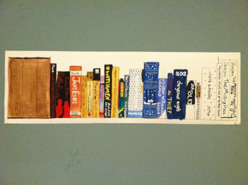 It looked like fun, so I painted my own ideal bookshelf! Mostly water color, a little acrylic.
