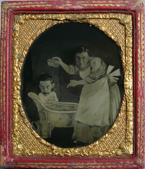 "ca. 1880-90's, [composite tintype of a ""family bath scene"", with two gentlemens' heads superimposed unto painted bodies] via Ebay"