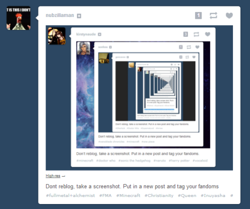 Dont reblog, take a screenshot. Put in a new post and tag your fandoms!